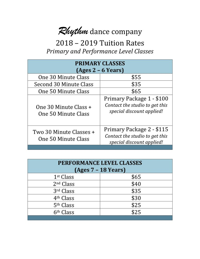 2018-2019 Tuition Grid (1)